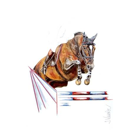 Jumping Jack Flash, Show Jumper Art Print by Jan Kunster