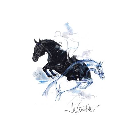 Bon Jour, Show Jumper Art Print by Jan Kunster