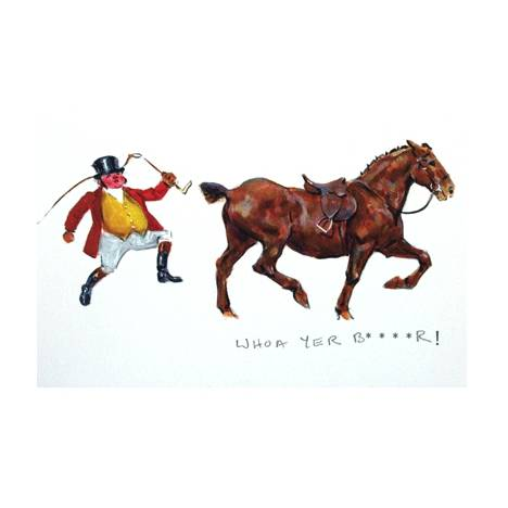 Whoa yer B***r (Fox Hunting) Blank Greeting Cards - 6 Pack