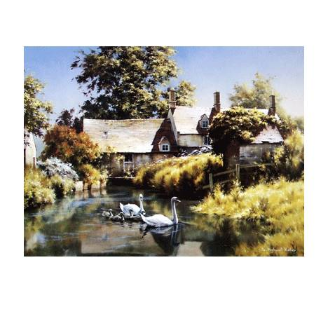 Old Water Mill (Swans) Blank Greeting Cards - 6 Pack
