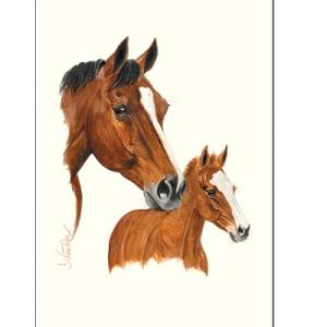 Smarty, Mare and Foal Art Print by Jan Kunster