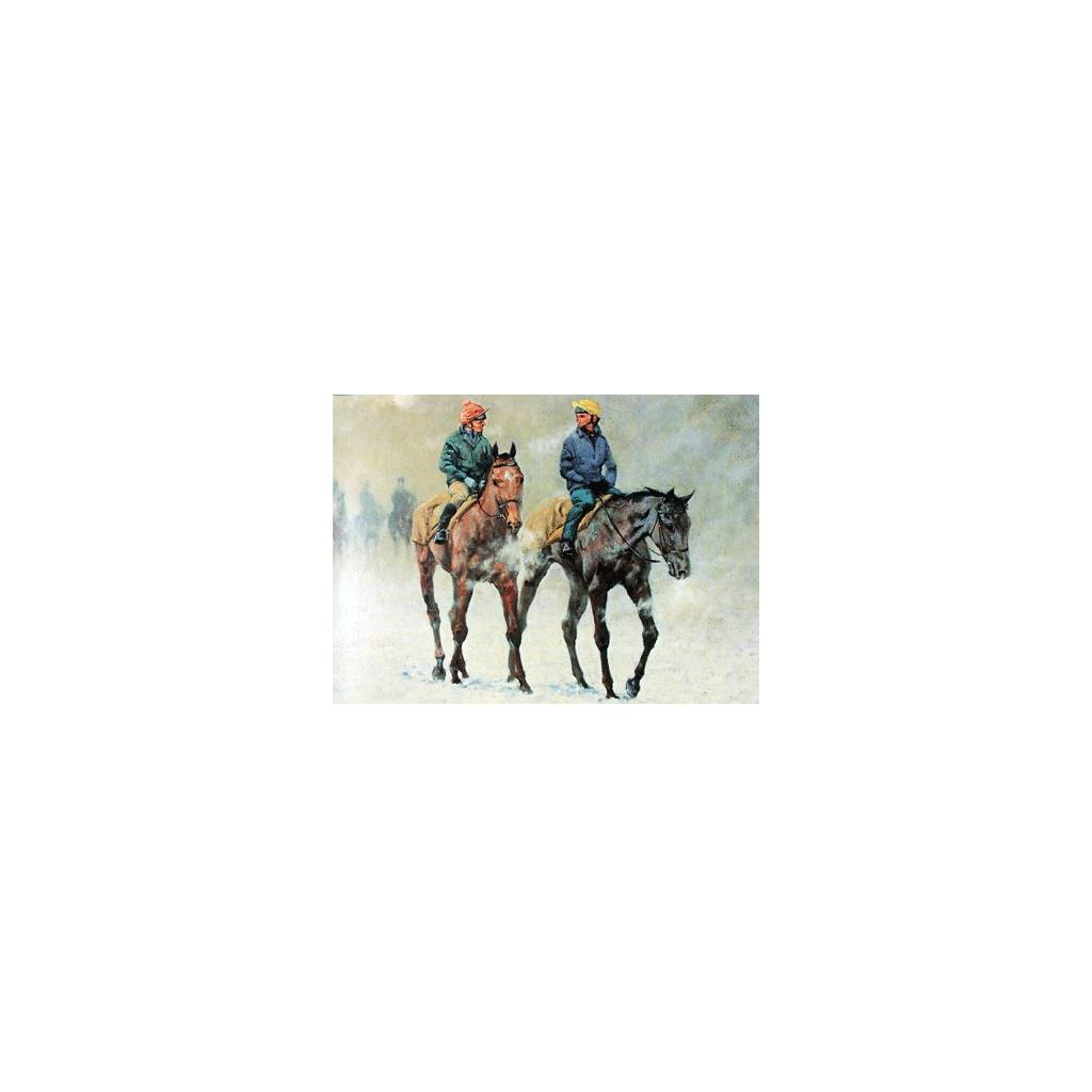 Winter Work Force (Horse Racing) Blank Greeting Cards - 6 Pack