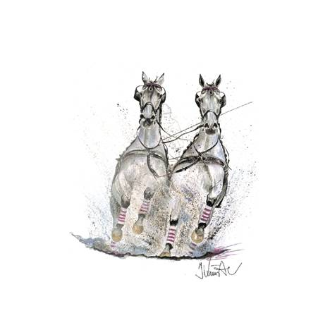 Gespann, Driving Horses Art Print by Jan Kunster