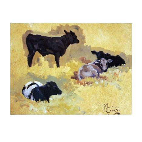 In the Barn (Cow) Blank Greeting Cards - 6 Pack