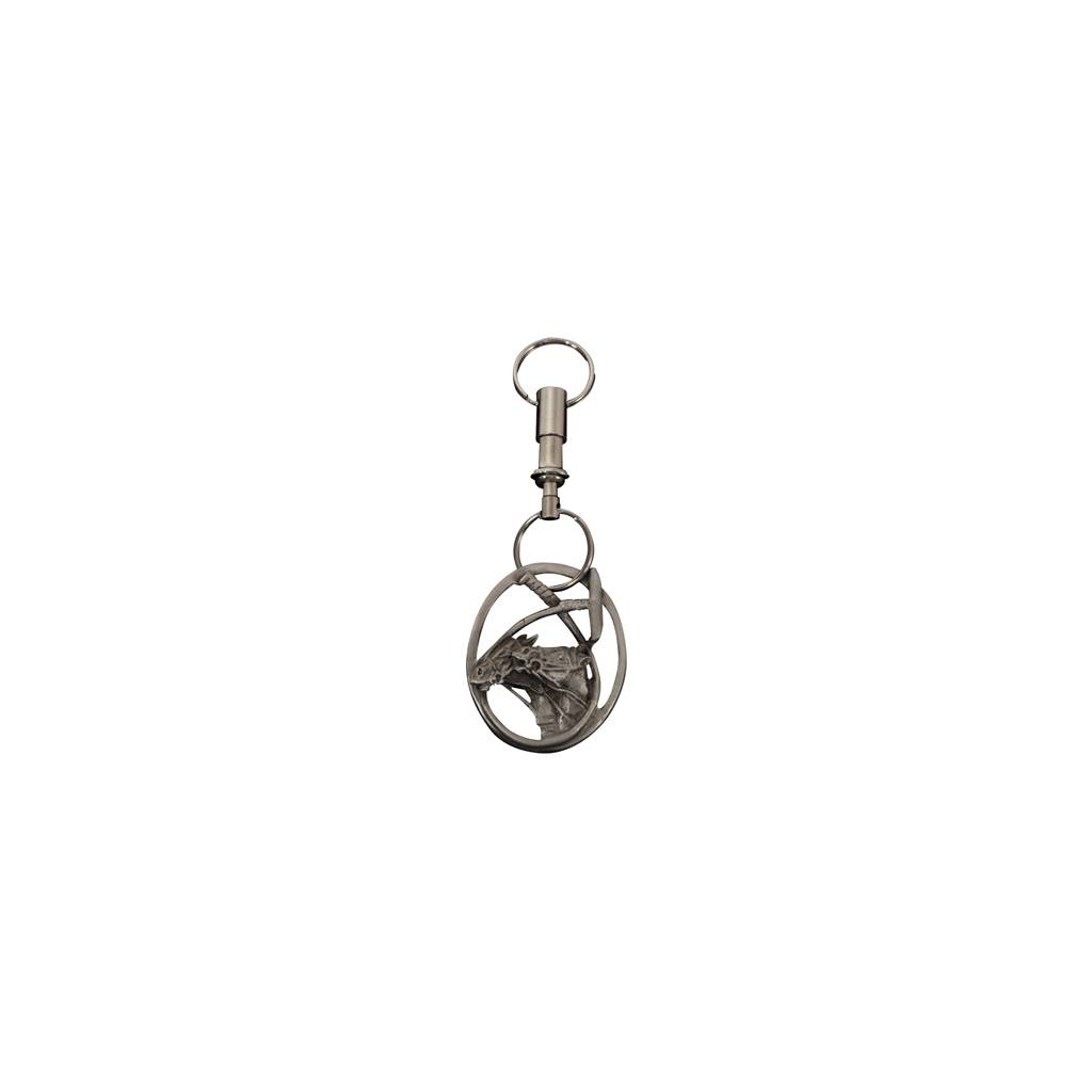 Double Horse Head Polo Pewter Keychain