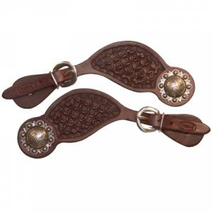 Ladies Tear Drop Spur Straps Fancy tooled with silver engraved concho and buckle