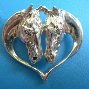 Beverly Zimmer Horse Head Heart Pin