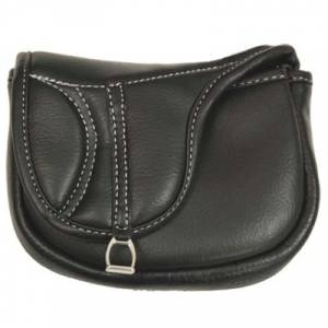 Treat Bag Black supple leather. Easy access fold over flap. Belt loop on back.