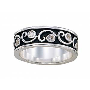 Montana Silversmiths Silver and Crystal Filigree Band Ring