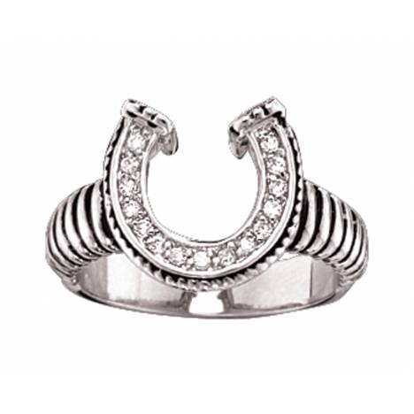 Montana Silversmiths Striped Horseshoe Ring