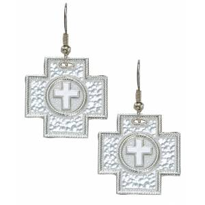 Montana Silversmiths Hammered Silver Cross Earrings