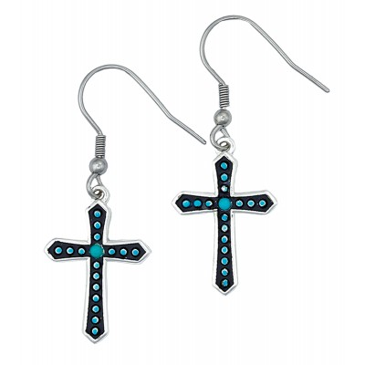 Montana Silversmiths Turquoise Dotted Silver Cross Earrings