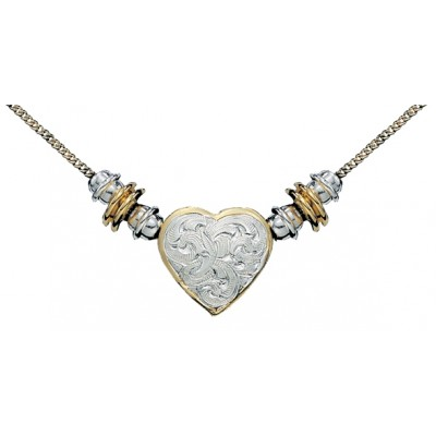 Montana Silversmiths Silver and Gold Montana Heart Beaded Necklace