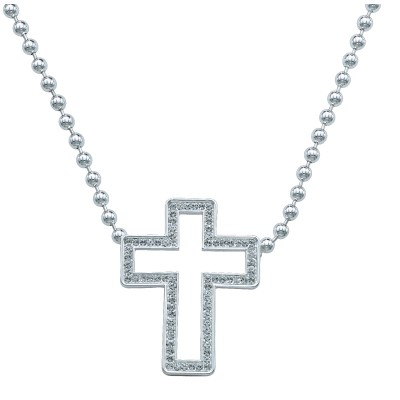Montana Silversmiths Open Cross In Crystal Frame Pendant Necklace