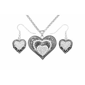 Montana Silversmiths Vintage Charm Our Prairie Mothers Heart Jewelry Set
