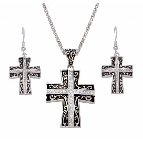 Montana Silversmiths Rhinestone Cross Set In Antiqued Filigree Jewelry Set