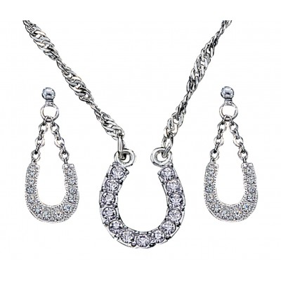Montana Silversmiths Crystal Clear Lucky Horseshoe Jewelry Set