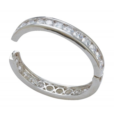 Montana Silversmiths Crystal Shine In Silver Channels Bangle Bracelet
