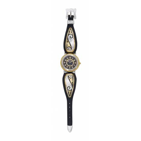 Montana Silversmiths Ladies Fancy Scroll Black Leather Band Watch, Lg Round Face