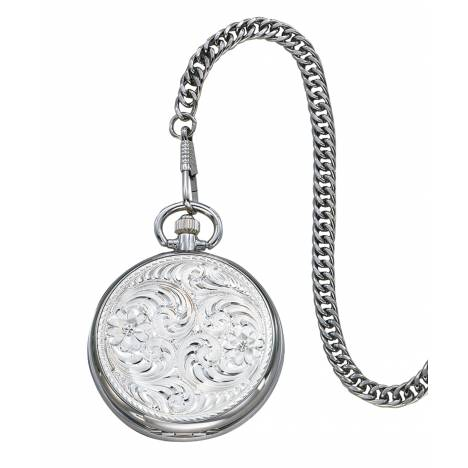 Montana Silversmiths Engraved Silver Pocket Watch