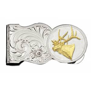 Montana Silversmiths Elk Head Scalloped Money Clip