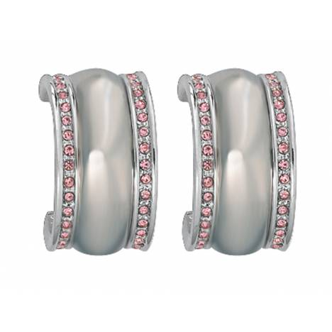 Montana Silversmiths Polished Silver Dome Pink Small Hoop Earrings