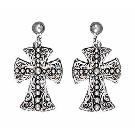Montana Silversmiths Western Deco Beaded Cross Dangle Earrings