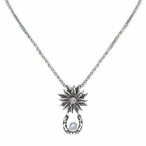 Montana Silversmiths Bitterroot Trail Necklace with Solitaire Crystal