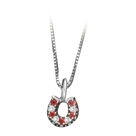 Kelly Herd Red & Clear Horseshoe Necklace - Sterling Silver