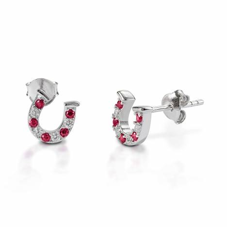 Kelly Herd Red & Clear Horseshoe Earrings - Sterling Silver