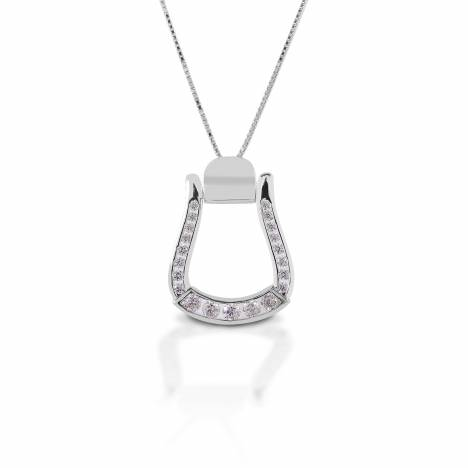 Kelly Herd Clear Stone Oxbow Stirrup Necklace - Sterling Silver
