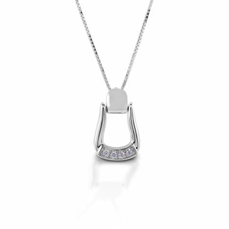 Kelly Herd Small Stone Base Oxbow Stirrup Necklace - Sterling Silver