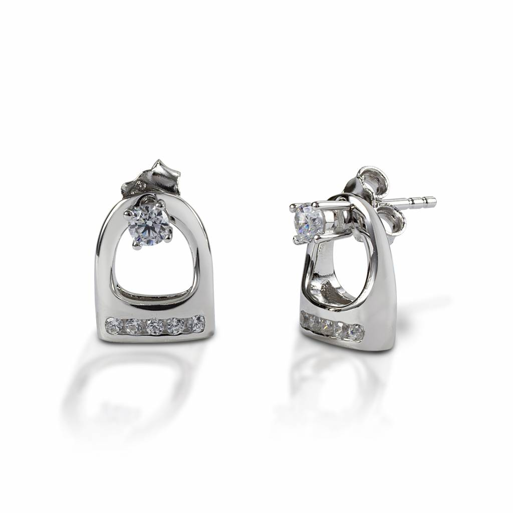 Kelly Herd Stud Earrings with Small English Stirrup Jackets - Sterling Silver