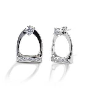 Kelly Herd Stud Earrings with Large English Stirrup Jackets - Sterling Silver