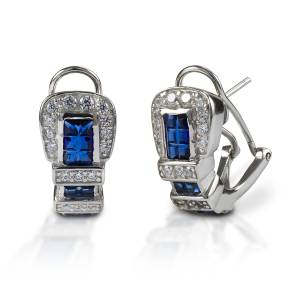 Kelly Herd Blue Ranger Style Buckle Earrings - Sterling Silver