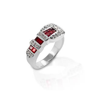 Kelly Herd Red Ranger Style Buckle Ring - Sterling Silver