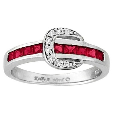 Kelly Herd Channel Set Buckle Ring- Red