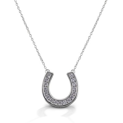 Kelly Herd Contemporary Pave Horseshoe Necklace - Sterling Silver