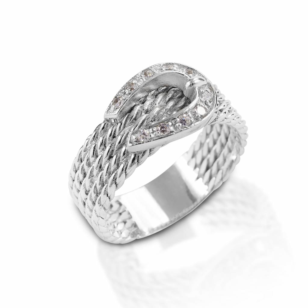 Kelly Herd Clear Rope Buckle Ring - Sterling Silver