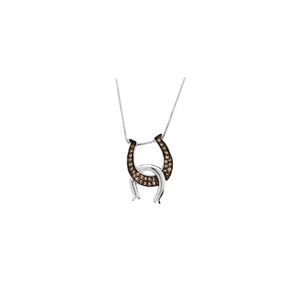 Kelly Herd Chocolate Double Horseshoe Pendant