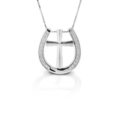 Kelly Herd Clear Horseshoe Cross Necklace - Sterling Silver