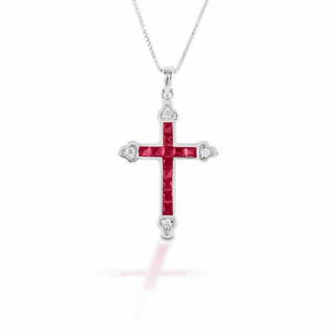 Kelly Herd Red Cross Necklace - Sterling Silver