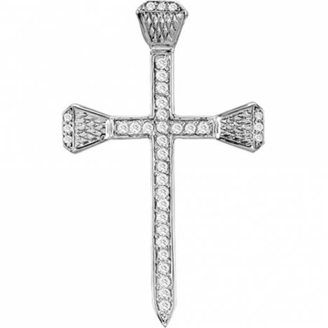 Kelly Herd Pave Horseshoe Nail Cross Necklace - Sterling Silver