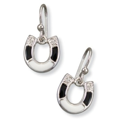 Kelly Herd Ladies Black & White Horseshoe Earrings