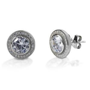 Kelly Herd Round Bezel Set Pave Earrings - Sterling Silver