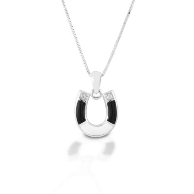 Kelly Herd Black & White Horseshoe Necklace - Sterling Silver