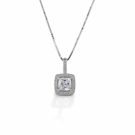Kelly Herd Square Bezel Set Pave Pendant - Sterling Silver