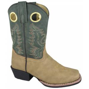 Smoky Mountain Memphis Western Boots - Kids, Lt Tan/Green