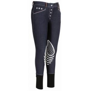 Equine Couture Stars & Stripes Denim Breeches - Ladies, Knee Patch