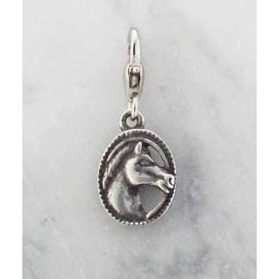 Barbary Horse Head in Oval Charm